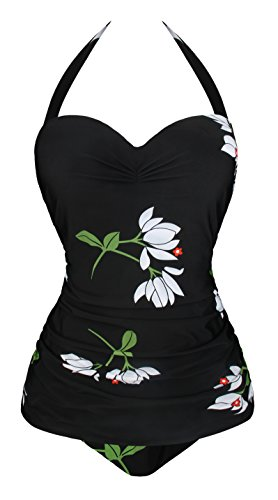 Angerella 50s Retro Vintage One Piece Pin Up Monokinis Floral Print Swimwear