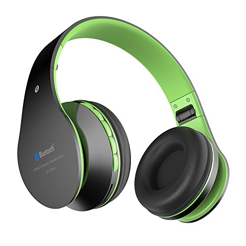 Auriculares con Micrófono, MP3 Player, MicroSD / TF Música, Radio FM Digital, 4 en 1 Multifuncional Estéreo Inalámbrico Bluetooth 4.1 + EDR Manos Libres para iPhone, Smartphone, Tablet, MP3 etc. Para adolescentes y adultos (Negro-verde)