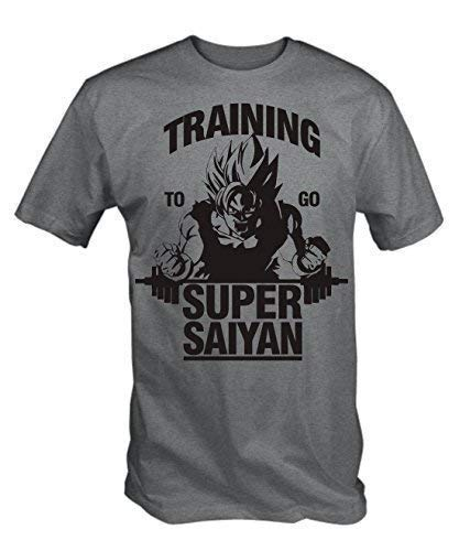 "Camiseta chico T-shirt Gris Imprimé ""Training to go Super Saiyan&quot, L"