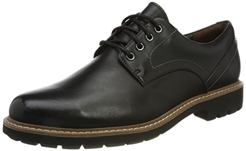 Clarks Batcombe Hall Derby - Zapatos de Cordones  para Hombre, Negro (Black Leather), 43 EU