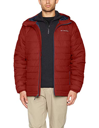 Columbia Powder Lite Hooded Anorak con Capucha, Hombre, Rojo (Red Element), S