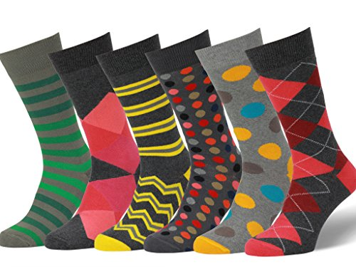 Easton Marlowe 6 PR Calcetines Estampados Hombre - 6pk #18, mixed - neutral main colors, 43-46 EU shoe size
