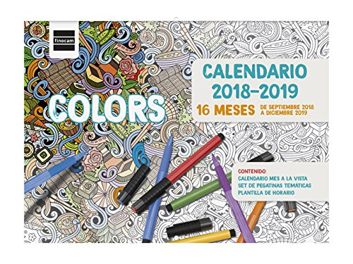 Finocam 16 meses - Calendario pared 16 meses 2018-2019 español, 308 x 225 mm, colors