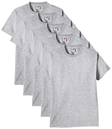 Fruit of the Loom 61-212, Camiseta Para Hombre, Gris (Heather Grey), XX-Large, Pack de 5