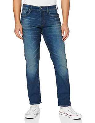 G-STAR RAW 3301 Straight Jeans Vaqueros, Worker Blue Faded A088-A888, 30W / 30L para Hombre