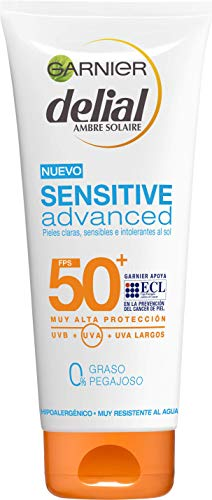 Garnier Delial Sensitive Advanced - Leche Solar para Pieles Claras, Sensibles e Intolerantes al Sol, IP50+  - 200 ml