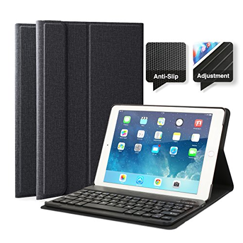 "iPad Air iPad Air 2 Pro9.7 Funda con Teclado Bluetooth, iPad Funda Protectora con Teclado Inalambrico QWERTY Español para Apple iPad Air 1, iPad Air 2, iPad Pro 9.7"", iPad 2017 Negro"
