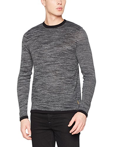 JACK & JONES Jcomaize Knit Crew Neck, Suéter para Hombre, Gris (Dark Grey Melange Fit:Knit Fit), Large