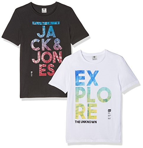 JACK & JONES Jcomath tee SS Crew Neck WHS 2, Camiseta para Hombre, Negro (Black Fit: Slim-Packed with White), X-Large(Pack de 2)