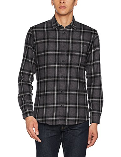 JACK & JONES Jorlarson Shirt Ls, Camisa para Hombre, Multicolor (Dark Grey Melange Fit:Slim), Large