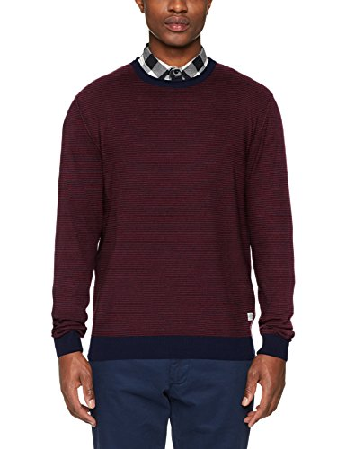 JACK & JONES Jornash Crew Neck, suéter para Hombre, Rojo (Cordovan Knit Fit), Medium