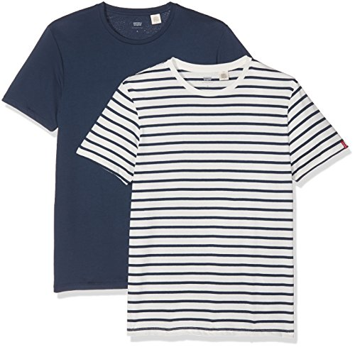 Levi's Slim 2 Pack Crew Tee, Camiseta Para Hombre, Azul (Essential Stripe Dress Blues/Marshmallow 0025), Large