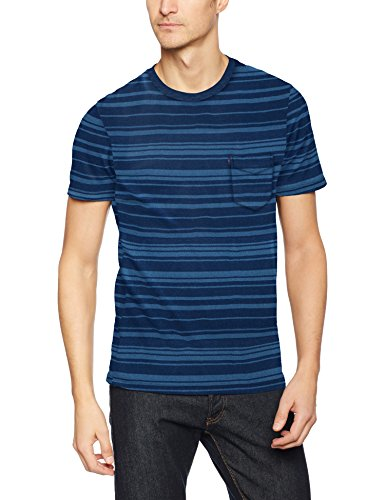 Levi's SS Set-In Sunset Pocket, Camiseta Para Hombre, Azul (Major Stripe Light + Medium Indigo 24), Large