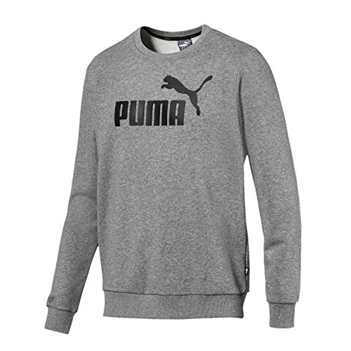 Puma ESS Logo Crew TR Sweatshirt, Hombre, Medium Gray Heather, M