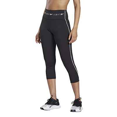 Reebok LM High Rise 3/4 Tight Mallas, Mujer, Negro, S