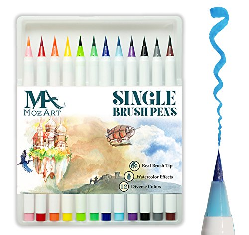 Set de rotuladores con punta de pincel - 12 colores - Punta de pincel real, flexible y suave, alta calidad, crea un efecto acuarela - Ideal para libros para colorear para adultos, manga, comic, caligrafía - Doble grosor - MozArt Supplies