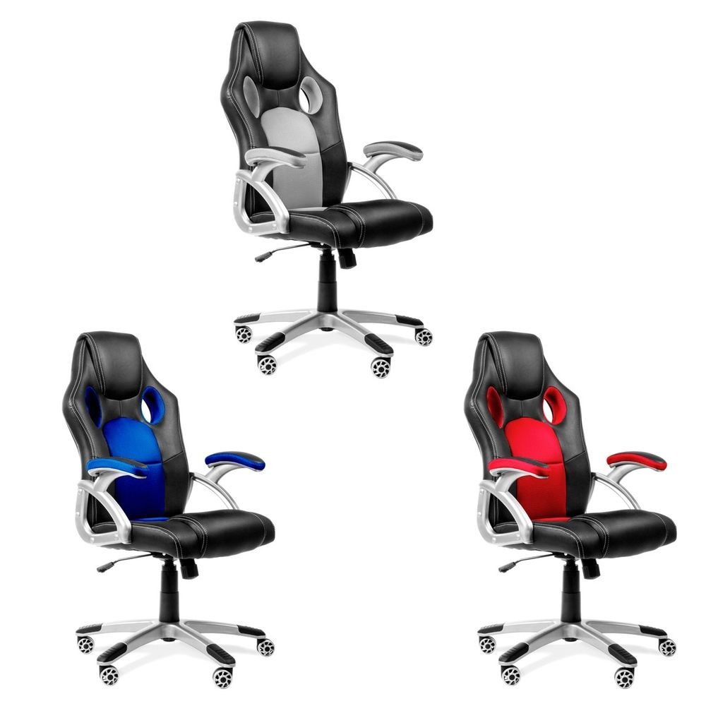 Silla de oficina racing gaming sillon de despacho color Azul Rojo o Gris -McHaus | eBay