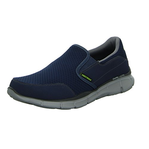 Sketchers Men's Equalizer Persistent Low-Top Sneakers - Blue (Navy Grey), 8 UK