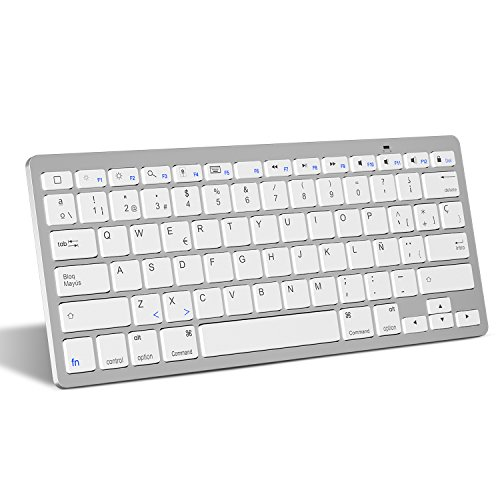 Teclado Español Ultra-Delgado Mini para iPhone/iPad Air/iPad Pro/iPad Mini y Todas Sistemas de iOS,No se Adapta a Macbook (Blanco)