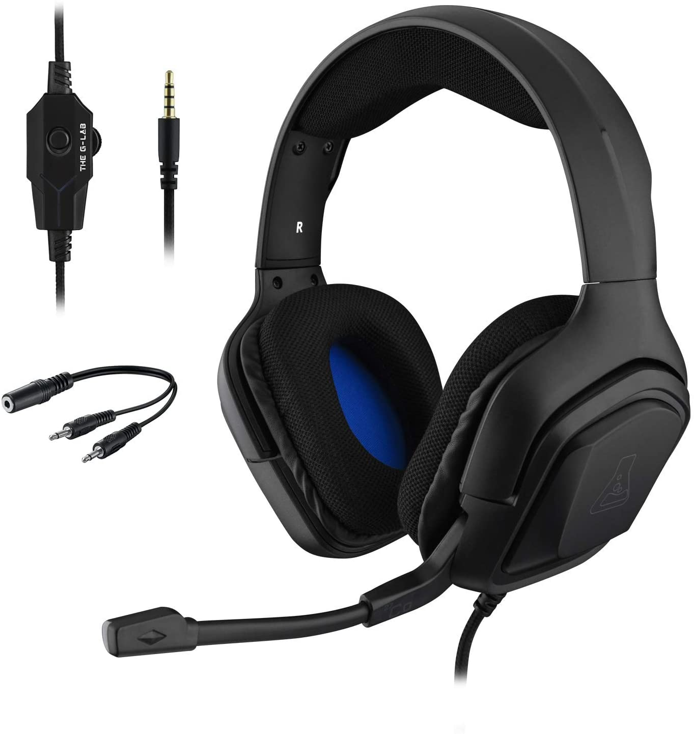 THE G-LAB Korp COBALT Auriculares Gaming - Auriculares estéreo, Ultra Ligero, Auriculares con Micrófono, Jack de 3.5 mm para PC, PS4, Xbox One, Mac, Tablet PC, Switch, Smartphone (Negro)