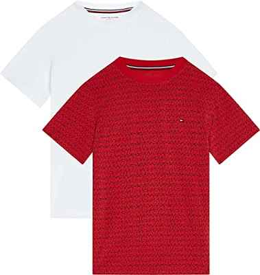 Tommy Hilfiger 2P CN tee SS Print Ropa Interior, Primary Red/White, 14-16 para Niños