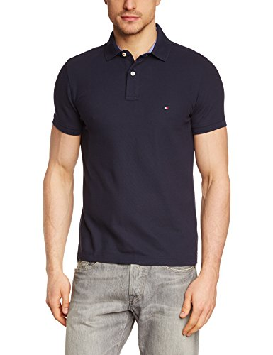 Tommy Hilfiger 50/2 PERFORMANCE POLO S/S SF - Polo, con manga corta, con cuello cuello polo para hombre, Azul (MIDNIGHT 403), Medium