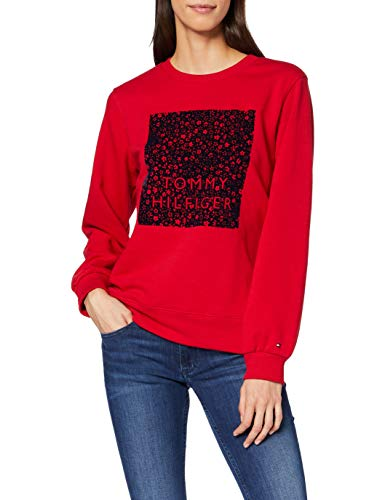 Tommy Hilfiger Stacy C-nk Sweatshirt LS Sudadera, Rojo (Red XLG), 90 (Talla del Fabricante: XXX-Large) para Mujer