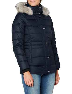 Tommy Hilfiger TH ESS Tyra Down Jkt with Fur Chaqueta, Desert Sky, L para Mujer