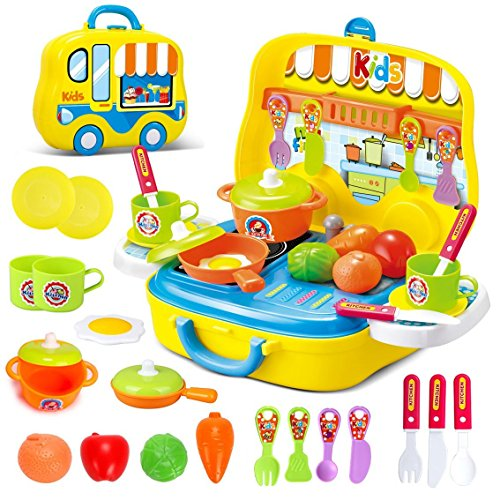 Toys Little Chef Kitchen Mini Carry Case - Juego de Funda de Transporte con Accesorios (Color Amarillo)